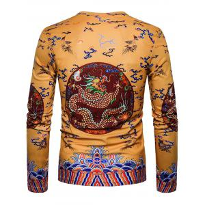 Dragon Chinese Style Printed Long Sleeve T-shirt -