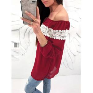 Lace Panel Off The Shoulder Chiffon Blouse -