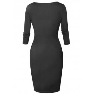 Knee Length Zipper Bodycon Dress -