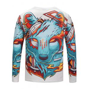 Crew Neck Cartoon Wolf Printed Tee -