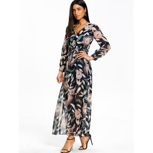 Surplice Slit Feather Print Maxi Dress -