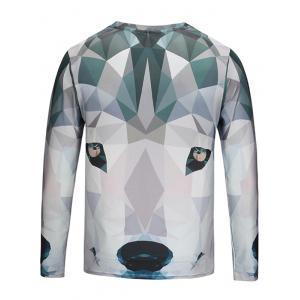 Crew Neck Geometric Animal Print Tee -