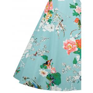 Cap Sleeve Floral Vintage A Line Dress -