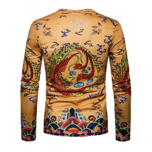 Phoenix Chinese Style Print Long Sleeve T-shirt -
