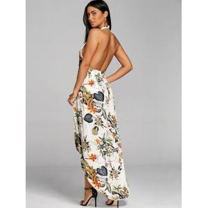 Low Cut Bohemian Print Backless Dress -