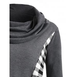 Heap Collar Plaid Panel Asymmetric Overlap Top -