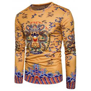 Dragons Print Chinese Style Long Sleeve T-shirt -
