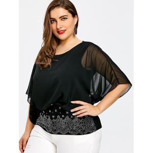 Plus Size Embellished Batwing Sleeve Sheer  Blouse -