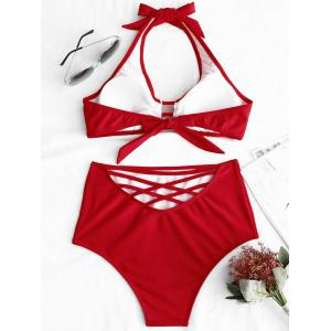 Ladder Cut Halter Bikini Set -