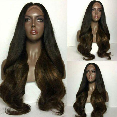 New Long Center Parting Natural Wavy Ombre Lace Front Human Hair Wig