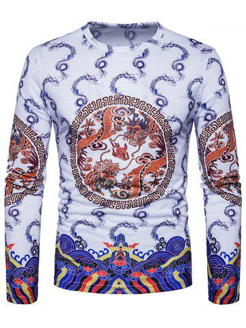 Hot Geometric Dragons Print Chinese Style T-shirt