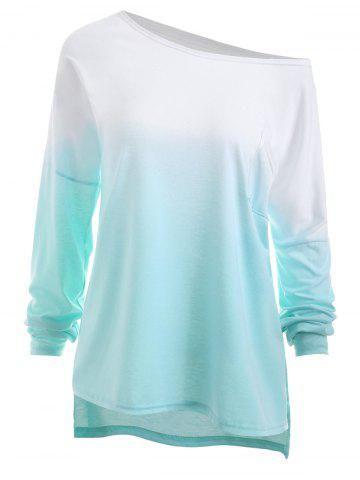 Discount Plus Size High Low Pocket Ombre T-shirt