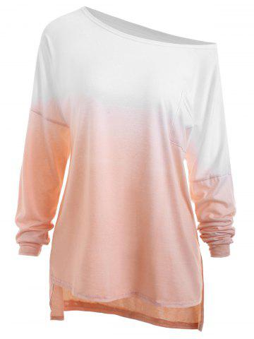 Shops Plus Size High Low Pocket Ombre T-shirt