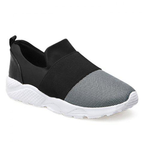 Chic Mesh Upper Color Block Slip On Sneakers