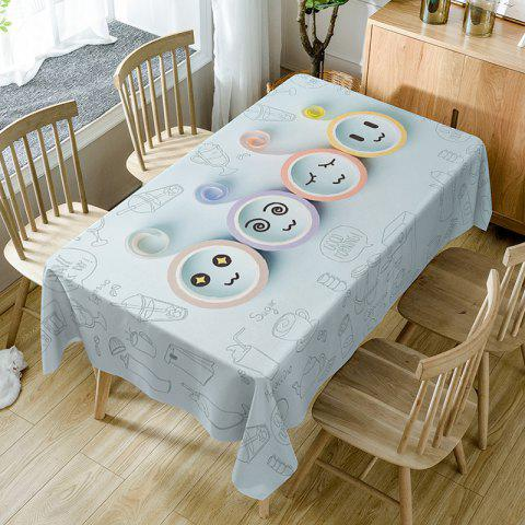 Latest Cartoon Emoticon Print Fabric Dining Table Cloth
