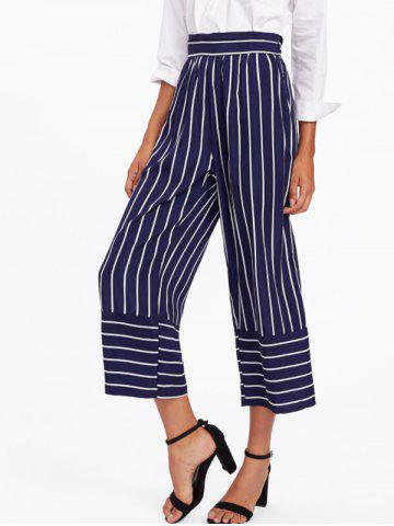 Cheap High Waisted Striped Gaucho Pants