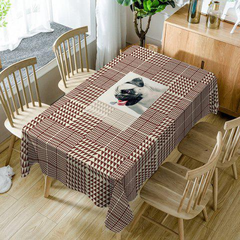Buy Dog Geometric Print Fabric Waterproof Table Cloth