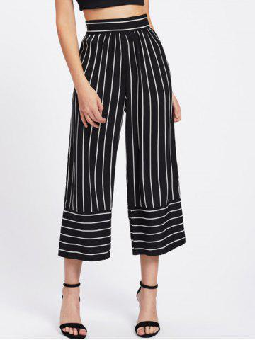Fancy High Waisted Striped Gaucho Pants