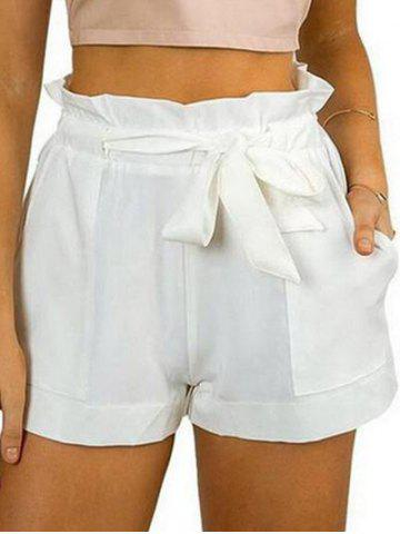 Belted Ruffle Trim Shorts - WHITE - M