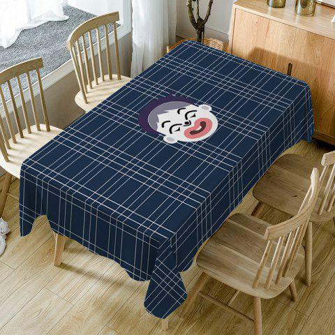 Unique Cartoon Boy Plaid Print Fabric Waterproof Table Cloth