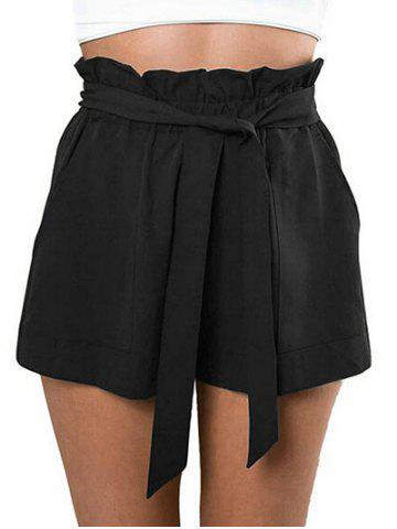 Affordable Belted Ruffle Trim Shorts