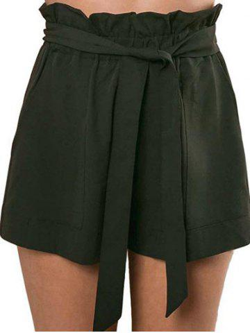 Chic Belted Ruffle Trim Shorts