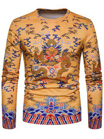 Shops Dragon Print Chinese Style Long Sleeve T-shirt