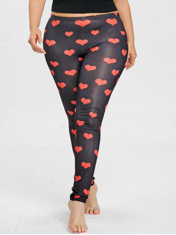 Discount Plus Size Heart Print Leggings