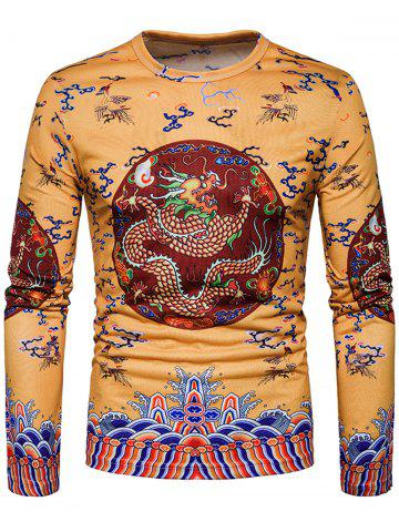 Unique Dragon Chinese Style Printed Long Sleeve T-shirt