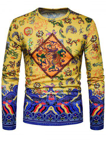 Online Dragon Chinoiserie Print Long Sleeve T-shirt