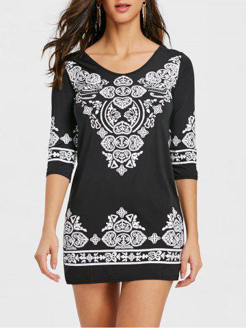 Hot Ethnic Print Mini Bodycon Dress