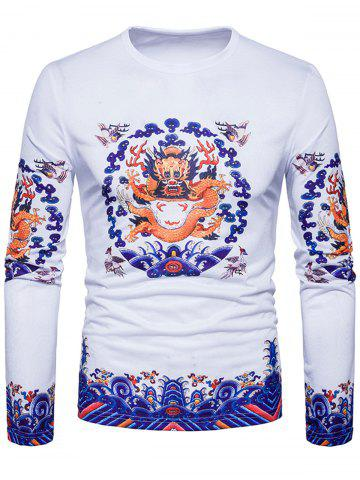 Buy Long Sleeve Dragon Print T-shirt