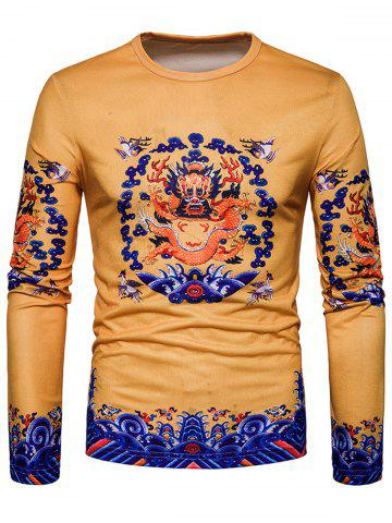 Outfit Long Sleeve Dragon Print T-shirt