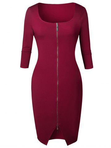 New Knee Length Zipper Bodycon Dress