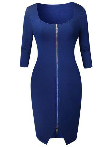Discount Knee Length Zipper Bodycon Dress