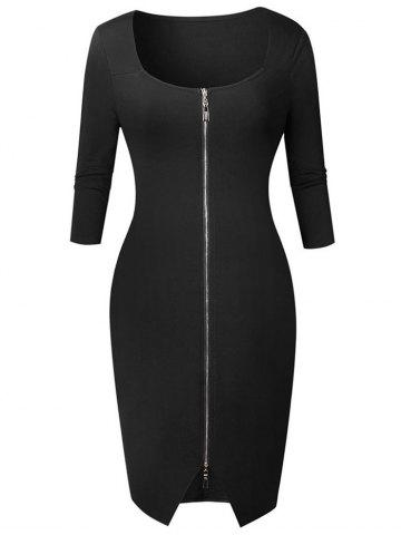 Cheap Knee Length Zipper Bodycon Dress