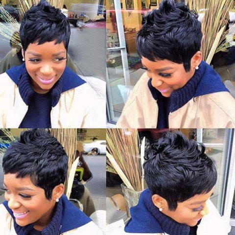 Trendy Short Inclined Bang Textured Layered Slightly Curly Human Hair Wig