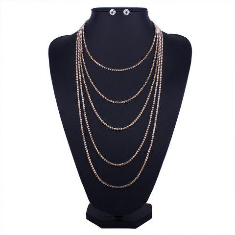 Online Layered Rhinestone Fringed Necklace and Earrings