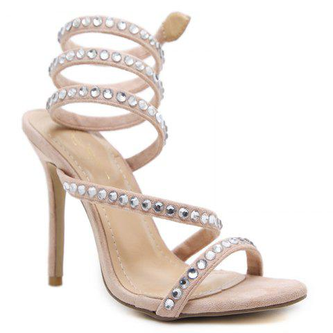 Stiletto talon strass gladiateur sandales
