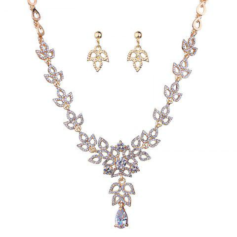 Buy Sparkly Rhinestoned Leaf Necklace and Earring Set