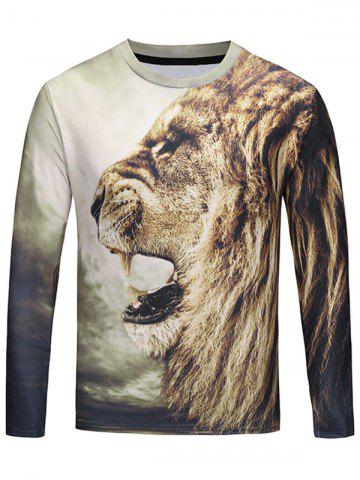 Online Crew Neck 3D Roar Lion T-shirt