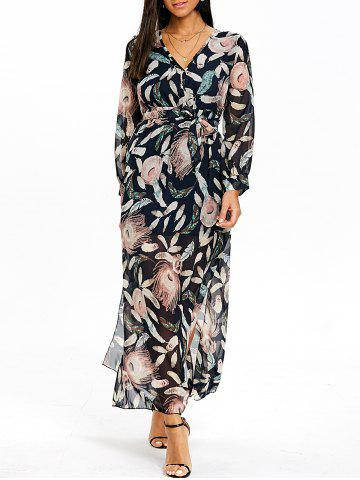 Online Surplice Slit Feather Print Maxi Dress