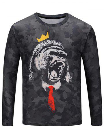 Affordable Crew Neck Roaring Gorilla Camouflage T-shirt