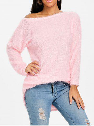 Shop Skew Neck Fluffy Tunic Sweater