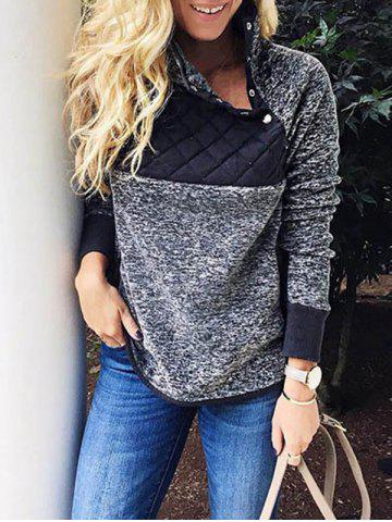 Fashion Quilted Panel Fluffy Sweatshirt