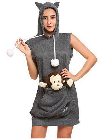 Latest Kangroo Pouch Sleeveless Tunic Hoodie