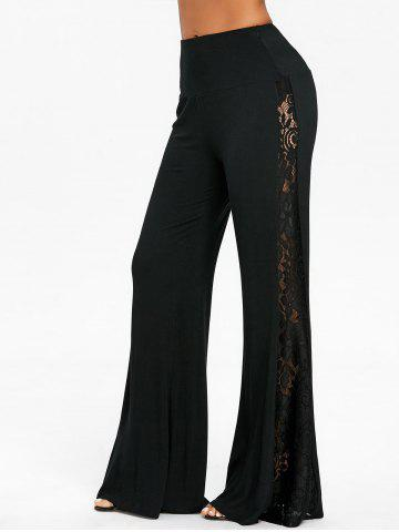 Fashion Lace Insert High Waist Wide Leg Pants