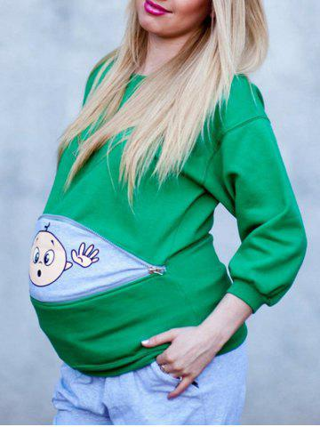 Sale Zipped Baby Peeking Print Maternity Sweatshirt