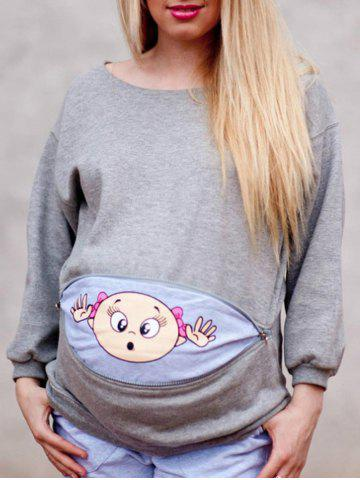 Zipped Baby Peeking Print Maternity Sweatshirt