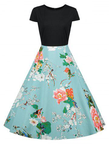 Fancy Cap Sleeve Floral Vintage A Line Dress